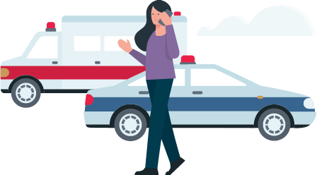 woman-talking-on-phone-in-front-of-crashed-car
